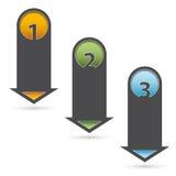 Drie stappen infographic pijlen Stock Afbeeldingen