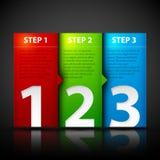 Drie stappen Nuttig voor leerprogramma's of instructies Stock Foto