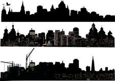 Drie stedensilhouetten Stock Fotografie