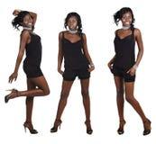 Drie stellen van Afrikaanse vrouw met lang haar Stock Afbeeldingen
