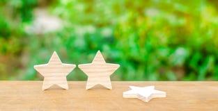 Drie sterren, een ster vielen Het concept een daling van classificatie en kwaliteit Ontbering van de derde ster Terugkoppeling ov royalty-vrije stock fotografie