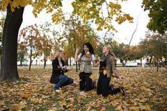 Drie studenten Stock Foto's