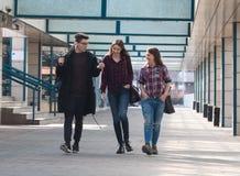 Drie studenten het lopen Royalty-vrije Stock Afbeelding