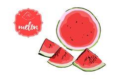 Drie stukken van de beeldverhaalhand getrokken die meloen en helft van watermeloen op wit worden de geïsoleerd Het etiketkenteken royalty-vrije illustratie