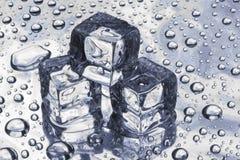 Drie stukken van een ijs stock foto's