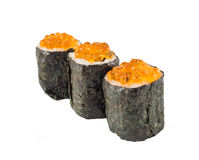 Drie sushi met kaviaar royalty-vrije stock afbeelding