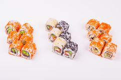 Drie sushibroodjes stock foto's