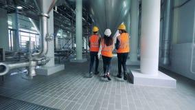 Drie technici lopen langs het distilleerderijgebouw stock videobeelden