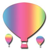 Drie tekeningen van de hete luchtballon Vector Illustratie