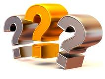 Drie tekens op een vraag Stock Foto's