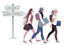 Drie tieners die naar school terugkeren royalty-vrije illustratie