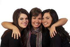 Drie tienervrienden die uit hangen Stock Afbeeldingen
