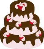 Drie-tiered cake met chocoladesuikerglazuur Stock Foto