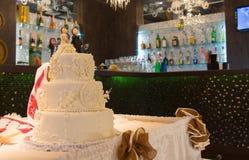 Drie tiered huwelijkscake Royalty-vrije Stock Fotografie
