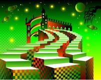 Drie treden die tot het kasteel van de sprookjeslandfantasie leiden vector illustratie