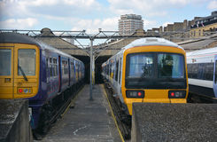 Drie treinen royalty-vrije stock fotografie
