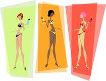 Drie trendy bikinimeisjes Royalty-vrije Stock Fotografie