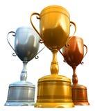 Drie trofeeën Stock Afbeelding