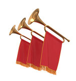 Drie trompetten met de rode wimpels van bannersvlaggen. Stock Foto's