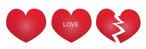 Drie types van rood hart Royalty-vrije Stock Fotografie