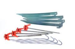 Drie types van tentpinnen Stock Afbeelding