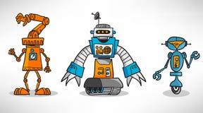 Drie uitstekende beeldverhaalrobot Royalty-vrije Stock Foto