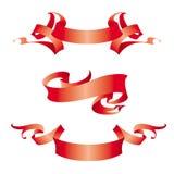 Drie uitstekende rode banners Stock Afbeeldingen