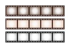 Drie uitstekende strepen van vijf kaders van 35 mm-film royalty-vrije illustratie