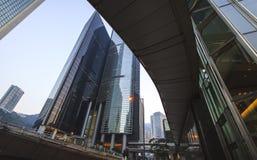 Drie van meest herkenbare hemelscrappers in Hong Kong. Stock Afbeeldingen