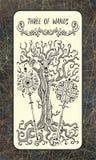 Drie van toverstokjes De Magische kaart van het Poorttarot royalty-vrije illustratie
