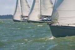 Drie varende Botenzeilboten of Jachten op zee stock afbeeldingen