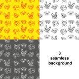 Drie varianten naadloze achtergrond die honden afschilderen Stock Afbeelding
