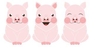 Drie varkens met verschillende emoties royalty-vrije illustratie