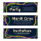 Drie vectorbanners voor Mardi Gras-viering, uitnodiging aan a Royalty-vrije Stock Fotografie