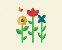 Drie verbazende bloemen met vlinder op licht Stock Afbeelding