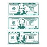 Drie vereenvoudigde gestileerde rekeningen in hoge contraststijl stock illustratie