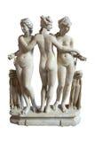 Drie vereren beeldhouwwerk - Louvremuseum, Parijs - Frankrijk stock afbeeldingen