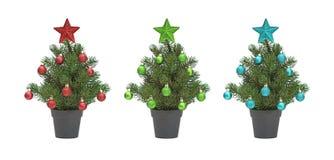 Drie Verfraaide Kerstbomen Stock Foto