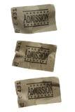 Drie VERFROMMELDE Algemene Kaartjes van de Toelating stock afbeelding