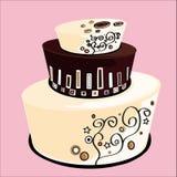 Drie-verhaal huwelijkscake met witte chocolade en donkere chocolade Stock Afbeelding