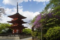 Drie-verhaal pagode en bloeiende bomen bij de lente binnen deratempel van Kyoto Kiyomizu, Japan stock afbeeldingen