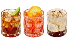 Drie verschillende exotische cocktails royalty-vrije stock afbeelding