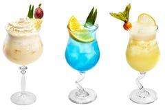 Drie verschillende exotische cocktails royalty-vrije stock fotografie