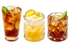 Drie verschillende exotische cocktails stock afbeelding