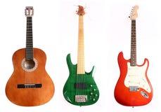Drie verschillende gitaren Royalty-vrije Stock Afbeeldingen