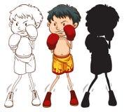 Drie verschillende schetsen van een bokser Stock Foto