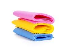 Drie verschillende types van sponsen voor schotels Stock Afbeeldingen