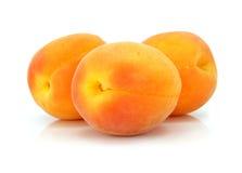 Drie verse geïsoleerdee abrikozenvruchten Royalty-vrije Stock Afbeelding