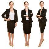 Drie versies van glimlachende bedrijfsvrouw stock fotografie