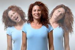 Drie versies van vrouw in verschillende stemmingen royalty-vrije stock foto's